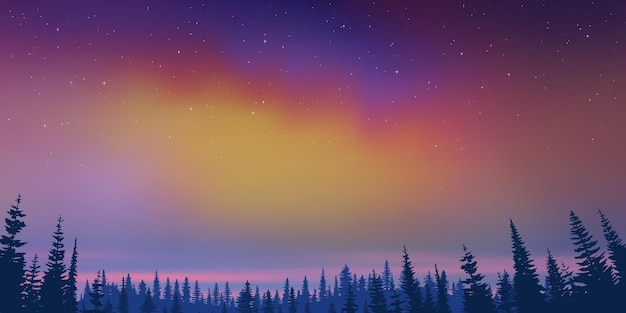 New year landscape, aurora borealis, forest and sunset light, vector illustration
