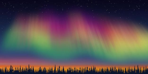 Новогодний пейзаж, сумерки и полярное сияние, лес и закат свет, векторные иллюстрации