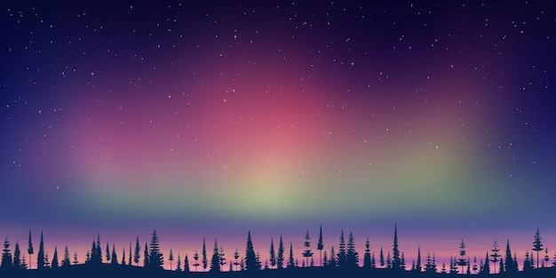 New year landscape, dusk and polar lights, forest and sunset light, vector illustration