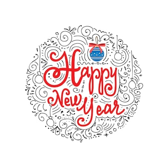 New year lettering careless drawing in a circle