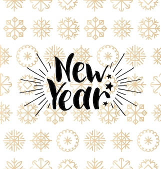 New year lettering design on snowflakes background. christmas seamless pattern. happy holidays typography for greeting card template or poster concept.