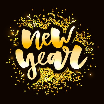 New year lettering in golden color
