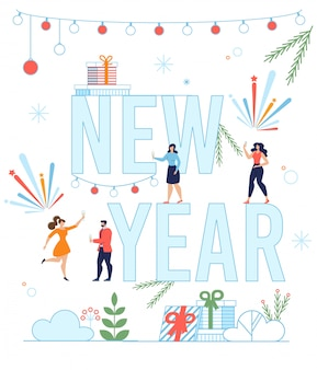 New year lettering with happy tiny people poster
