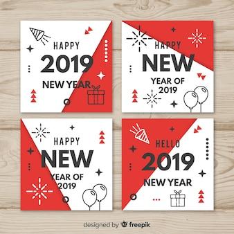 Новогодние карточки с линейными элементами