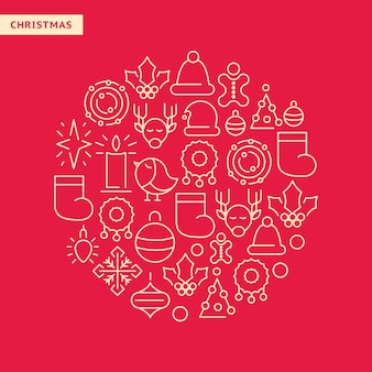 New year lined icons set with christmas elements in round shape on red