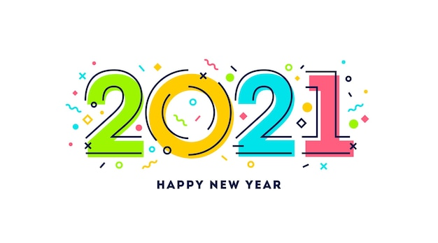 New year logo with abstract geometric shapes