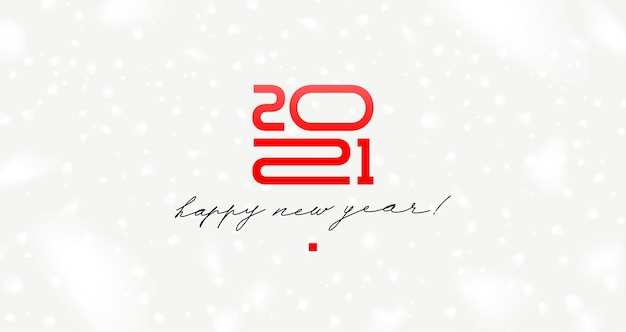 New year logo with calligraphic holiday greeting on a white background with snowflakes.