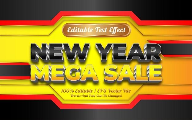 Новогодняя мега распродажа редактируемый текстовый эффект в золотом стиле