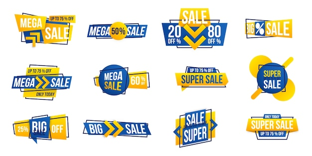 New year mega sale tag.