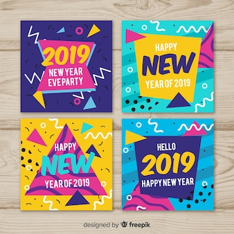 New year memphis cards pack