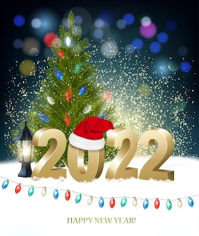 New year and merry christmas holiday background with 2022 with santa hat and colorful garland. vector.