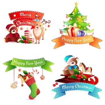 New year and merry christmas ribbons set