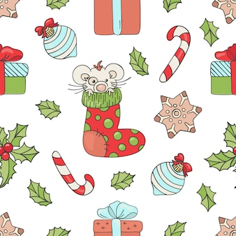 New year mouse christmas seamless pattern