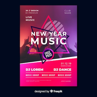 New year music party flyer template