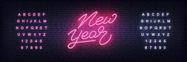New year neon banner template
