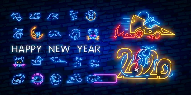 New year neon sign. piece of cheese with two thousand twenty numbers and rat on brick background. vector illustration in neon style for christmas banners
