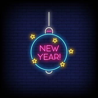 New year neon signs style text