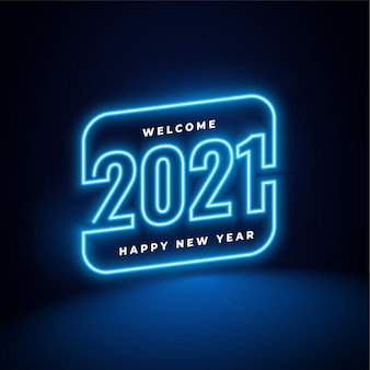 New year in neon style background