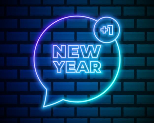 Новогодний неоновый текст. новогодний шаблон дизайна получить сообщение. световое знамя.