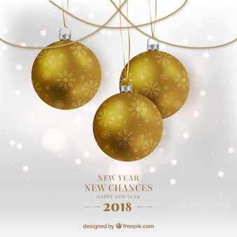 New year new chances background with golden baubles