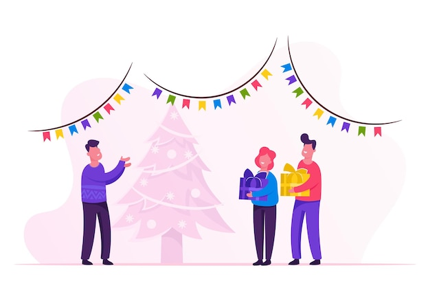 New year night. father giving gifts to children. cartoon flat illustration
