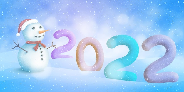 新年、冬の風景の中の番号2022、陽気な雪だるま、お祭りのベクトル