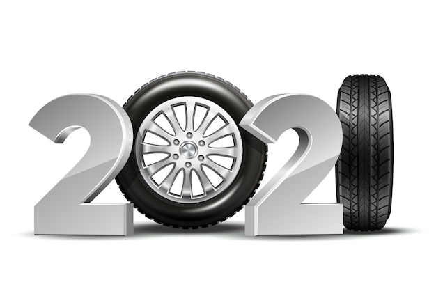 New year numbers 2021 with car tire isolated on white background. creative design pattern for greeting card, banner, poster, flyer, party invitation or calendar.