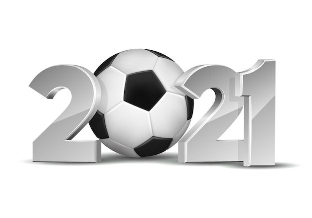 白い背景で隔離のサッカーボールと新年番号2021。