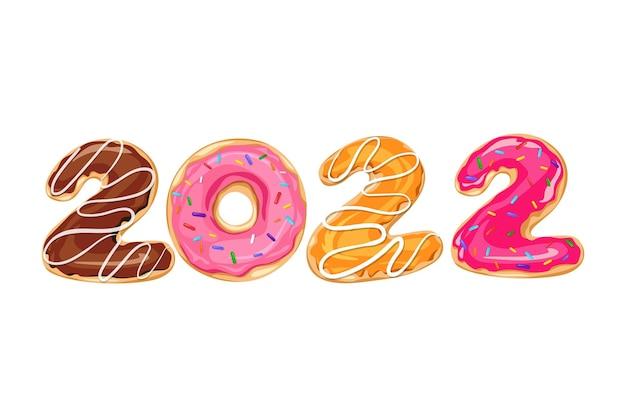 ドーナツイラストの形で新年番号「2022」
