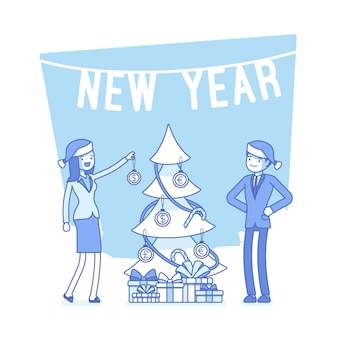 New year office tree illustration