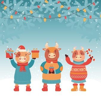 Новогодняя или рождественская открытка. бык с подарком и конфетой. зимний лес. светящаяся гирлянда. символ 2021 года бык