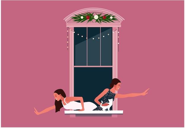 새해 또는 크리스마스 축하. 폐쇄.