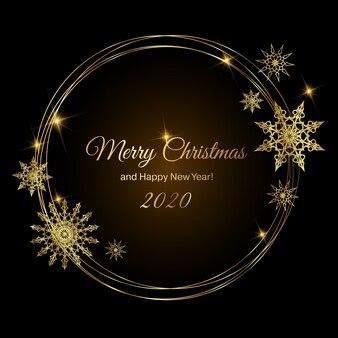 金の雪片と新年またはクリスマスのラウンドframeframe