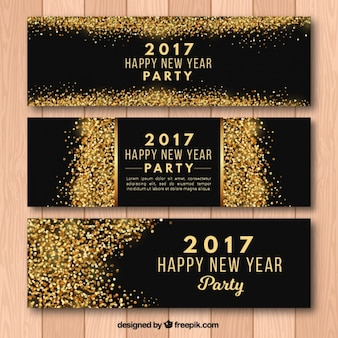 New year party 2017 banners with golden glitter
