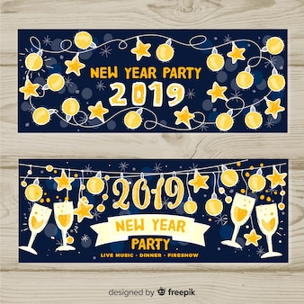 New year party 2019 banners