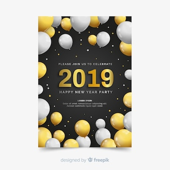 New year party 2019 flyer