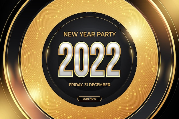 New year party banner black gold backround style
