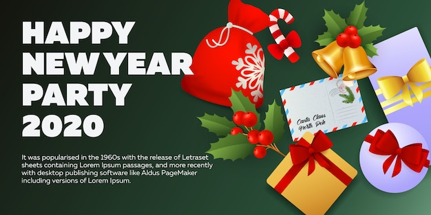 New year party banner design on green background