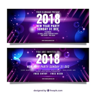 New year party banner in realistic design