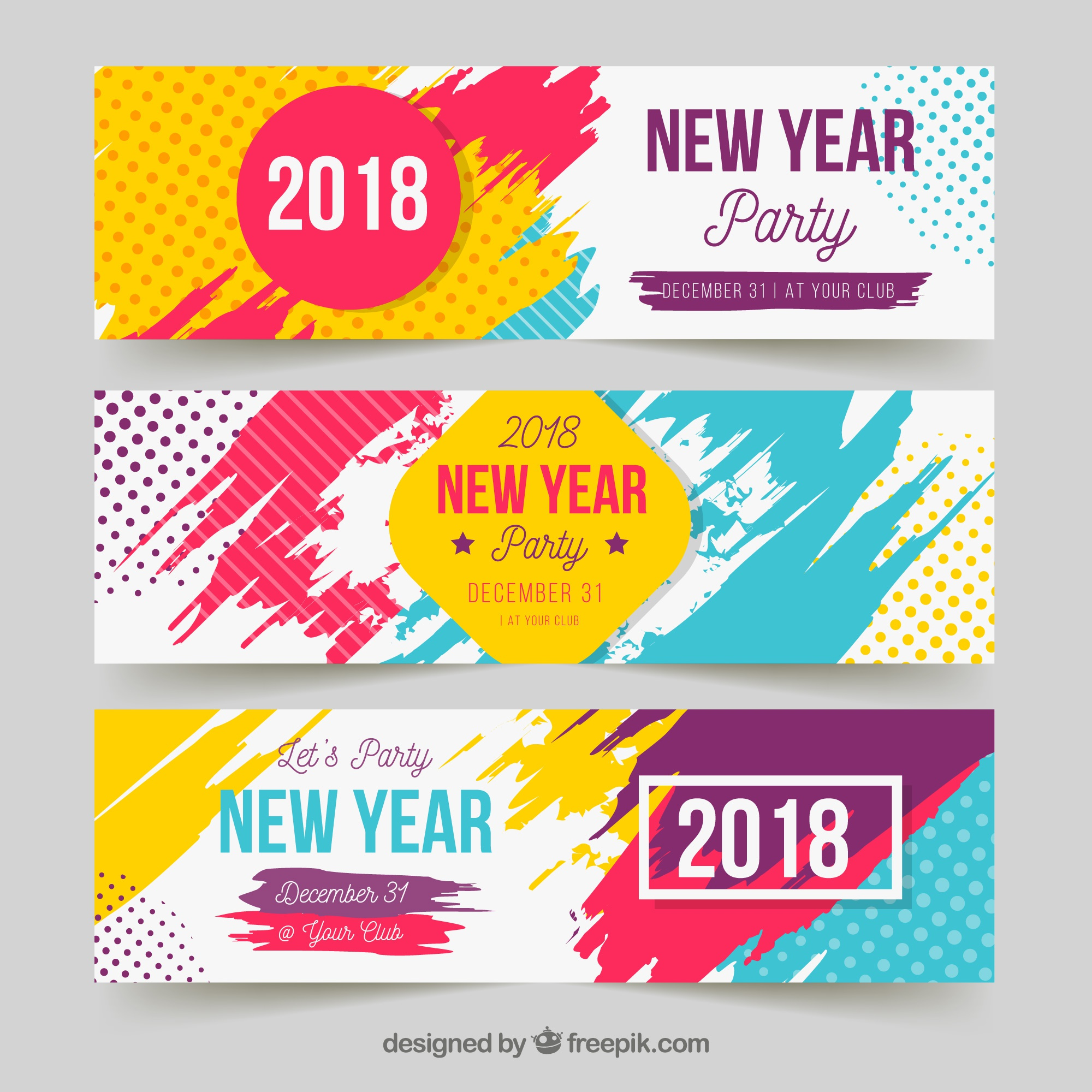 New year party banners in bright colours