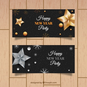 New year party banners with golden and silver decoration