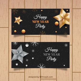 Nuovi banner anno partito con decorazioni in oro e argento
