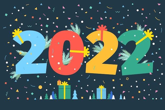신년 파티 카드입니다. 어두운 배경에 숫자 2022입니다. 평면 디자인, 벡터 일러스트 레이 션입니다.