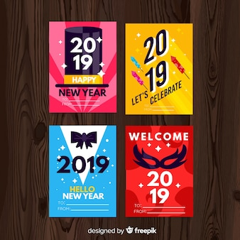 New year party cards pack