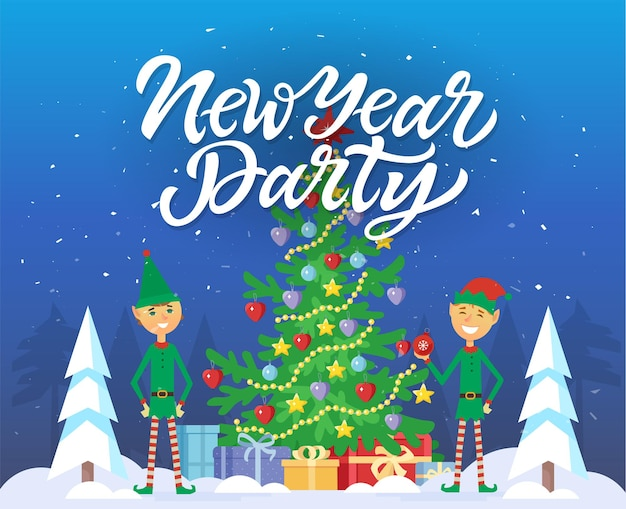 New year party - cartoon characters illustration with calligraphy text on blue snowy background. two smiling elves standing next to big decorated christmas tree with presents under it