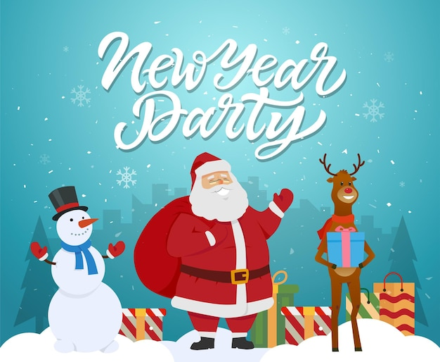 New year party - cartoon characters illustration with santa, raindeer, snowman and presents. high quality calligraphy text. silhouettes of pine trees on blue background. perfect as card, poster