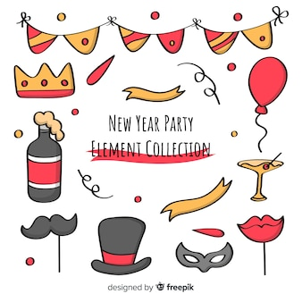 New year party cartoon photocall elements collection