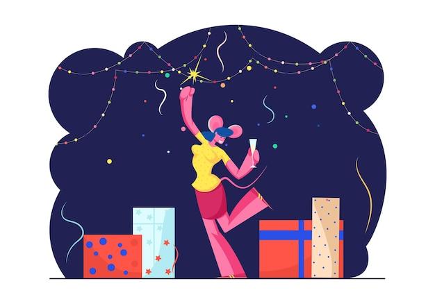 新年会のお祝い。漫画フラットイラスト
