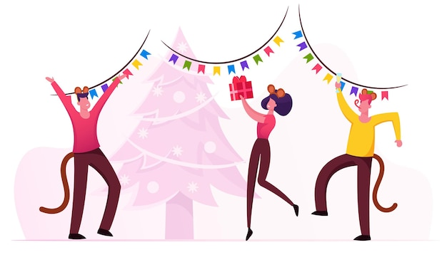New year party celebration. cartoon flat illustration