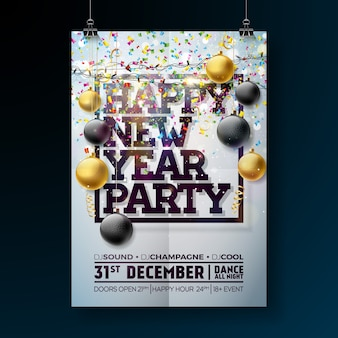 New year party celebration poster template illustration with typography design